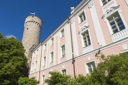 herman: Tall Hermann tower and Parliament building. Toompea, Governors garden, Tallinn, Estonia Editorial