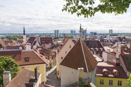 tallin: Scenic summer aerial panorama of the Old Town in Tallinn, Estonia Editorial