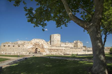 Medieval fortress in Zamora, Spain. Polarizing filter