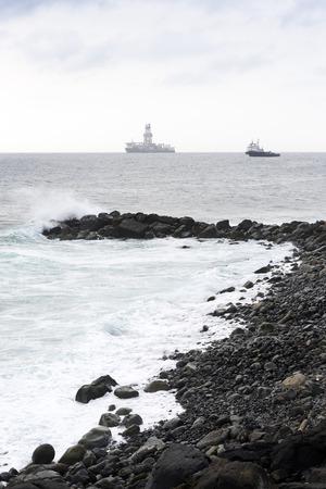 hydrocarbon: LAS PALMAS DE GRAN CANARIA, SPAIN - JULY 31, 2016: Boats for conducting hydrocarbon exploration wells in deep waters in the Atlantic Ocean off the city of Las Palmas, Canary Islands