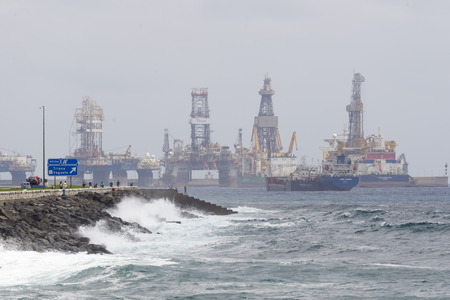 LAS PALMAS DE GRAN CANARIA, SPAIN - JULY 31, 2016: Boats for conducting hydrocarbon exploration wells in deep waters in the Atlantic Ocean off the city of Las Palmas, Canary Islands
