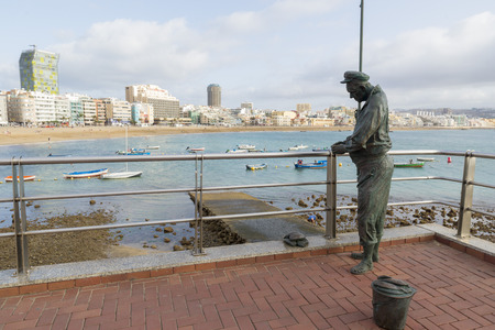 tribute: LAS PALMAS DE GRAN CANARIA, SPAIN - AUGUST 1, 2016: Sculpture tribute to the deceased fishermen in the city of Las Palmas. The sculptor Navarro Chano Betancor
