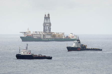 LAS PALMAS DE GRAN CANARIA, SPAIN - JULY 30, 2016: Boat for conducting hydrocarbon exploration wells in deep waters in the Atlantic Ocean off the city of Las Palmas, Canary Islands