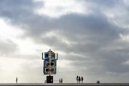 manrique: LAS PALMAS DE GRAN CANARIA, SPAIN - AUGUST 1, 2016: Wind sculpture by Cesar Manrique, Plaza de la Puntilla, Las Palmas de Gran Canaria, the Canary Islands, Spain