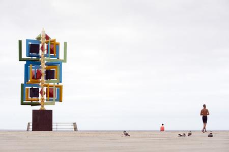manrique: LAS PALMAS DE GRAN CANARIA, SPAIN - JULY 29, 2016: Wind sculpture by Cesar Manrique, Plaza de la Puntilla, Las Palmas de Gran Canaria, the Canary Islands, Spain