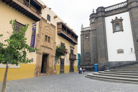 casa colon: LAS PALMAS DE GRAN CANARIA, SPAIN -  AUGUST 1, 2016: The house of Christopher Columbus (Casa de Colon), Las Palmas, Gran Canaria, Spain