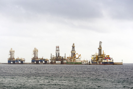 heli: LAS PALMAS DE GRAN CANARIA, SPAIN - JULY 31, 2016: Boats for conducting hydrocarbon exploration wells in deep waters in the Atlantic Ocean off the city of Las Palmas, Canary Islands