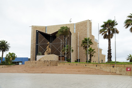 constituting: LAS PALMAS DE GRAN CANARIA, SPAIN - JULY 29, 2016: Alfredo Kraus Auditorium is located in Las Palmas constituting one of the most unique buildings in the capital of Gran Canaria. Created by Oscar Tusquets, it was built between 1993 and 1997