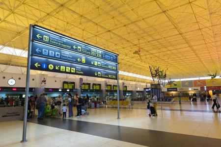 check room: LAS PALMAS DE GRAN CANARIA, SPAIN - AUGUST 4, 2016: Passengers at the airport check room Las Palmas, capital of the island of Gran Canaria, Spain