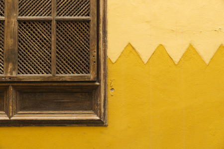 aeration: wooden shuttered window in the exterior wall of a traditional canary house