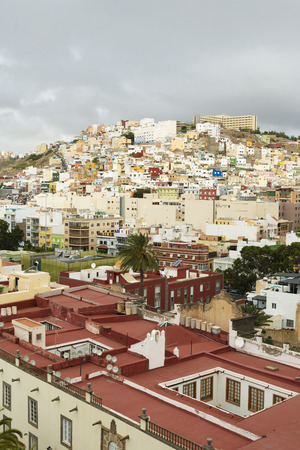 residential structures: Panoramic view on colourful residential structures in the city of Las Palmas of Gran Canaria, Canary Islands, Spain Stock Photo