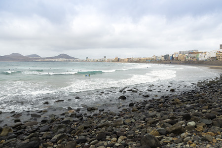 the Atlantic Ocean breaking in the rocks in the coast of Las Palmas de Gran Canaria, Canary Island