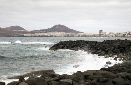 breaking in: the Atlantic Ocean breaking in the rocks in the coast of Las Palmas de Gran Canaria, Canary Island
