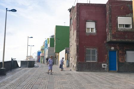 cristobal: LAS PALMAS, GRAN CANARIA, SPAIN - JULY 31, 2016: view fishing district of San Cristobal, south of Las Palmas in Gran Canaria, Canary Islands