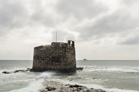 las palmas: San Cristobal Old Castle on the coast of the city of Las Palmas Stock Photo