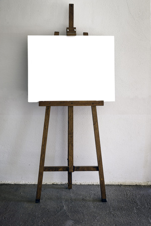 easel: Easel and white canvas. Copy space