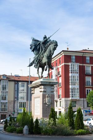 cid: BURGOS, SPAIN - 31 AUGUST, 2016: Statue in honor of the medieval hero El Cid Campeador