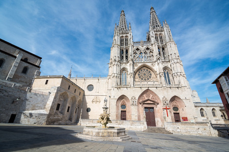 BURGOS, SPAIN - 31 AUGUST, 2016: Construction on Burgos Gothic Cathedral began in 1221 and spanned mainly from the 13th to 15th centuries. It has been declared a UNESCO World Heritage Site.