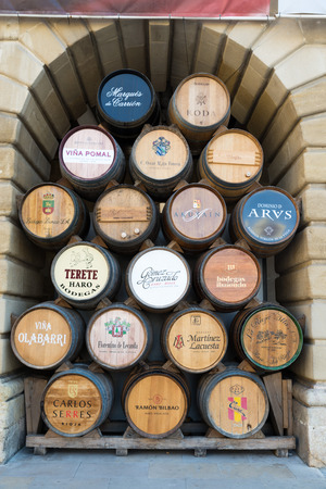 casks: HARO, LA RIOJA, SPAIN - 31 AUGUST, 2016: Wine barrels of the famous wine of Haro (La Rioja) in the City Hall waiting to the beginning of the festival