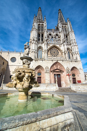 decades: BURGOS, SPAIN - 31 AUGUST, 2016: Construction on Burgos Gothic Cathedral began in 1221 and spanned mainly from the 13th to 15th centuries. It has been declared a UNESCO World Heritage Site.