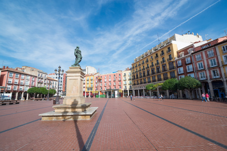 BURGOS, SPAIN - 31 AUGUST, 2016: monument to King Carlos III in the main square of the city on a summer afternoon