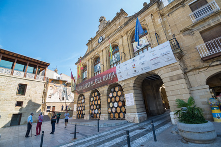 casks: HARO, LA RIOJA, SPAIN - 31 AUGUST, 2016: Town Hal ofl Haro. Haro is a town and municipality in the northwest of La Rioja province in northern Spain. It is known for its fine red wine Editorial