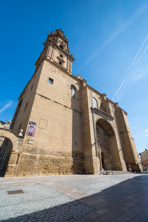 rioja: HARO, LA RIOJA, SPAIN - 31 AUGUST, 2016: Santo Tomás parish church in Haro, La Rioja. The town is known for its fine red wine and every year the Haro Wine Festival