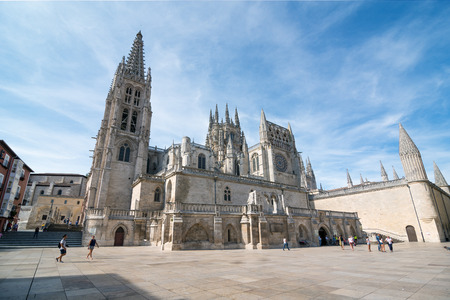 spanned: BURGOS, SPAIN - 31 AUGUST, 2016: Construction on Burgos Gothic Cathedral began in 1221 and spanned mainly from the 13th to 15th centuries. It has been declared a UNESCO World Heritage Site.