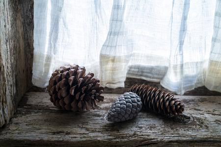 pinecones: three pinecones on the windowsill of an old window Stock Photo