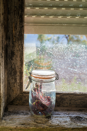 embrasure: Pantry in the windowsill of an old window Stock Photo