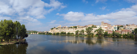 castille: panoramic view of the city of Zamora and Douro river