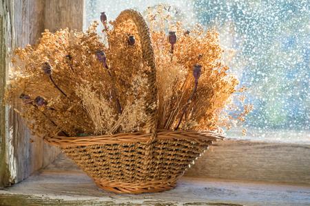 flores secas: canasta con flores secas en el alféizar de una ventana de madera vieja Foto de archivo