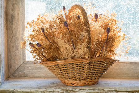 dried flowers: basket with dried flowers on the windowsill of an old wooden window