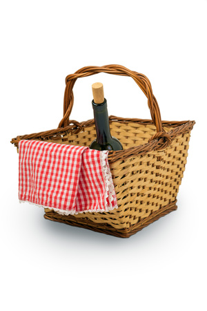 durable: Picnic Basket isolated over white background Stock Photo