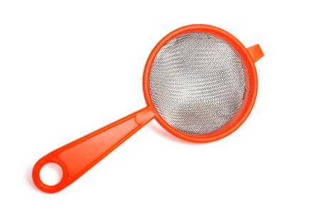 plastic kitchen sieve isolated on white Stock Photo