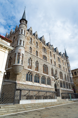 LEON - SPAIN -  October 16, 2016 :  Botines Palace is a modernist building located in the city of Leon, Spain. Originally commercial warehouse and private residence, it was built and designed by the Spanish architect Antoni Gaudí