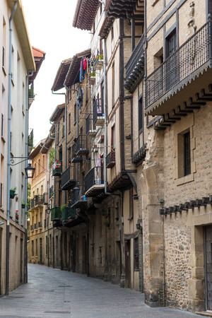 VITORIA-GASTEIZ, SPAIN - OCTOBER 16, 2016: typical dwelling houses in historic part of Vitoria-Gasteiz. Spain Editorial