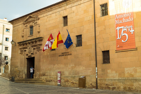 castile: SORIA, SPAIN - NOVEMBER 2, 2016: Institute of secondary education Antonio Machado, where the poet of the same name was professor of French language