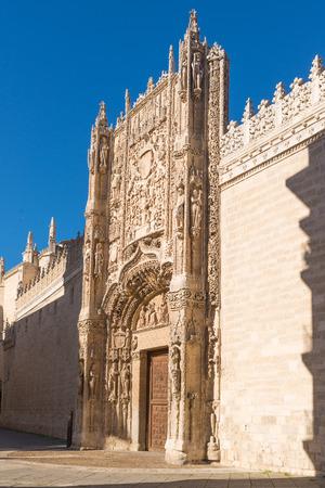 plateresque: VALLADOLID, SPAIN - NOVEMBER 7, 2016: plateresque facade of Colegio de San Gregorio, Currently museum of sculpture