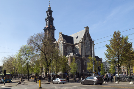 AMSTERDAM, NETHERLANDS - MAY 10, 2017: Westerkerk Is the largest Protestant church in the whole of Holland. It was officially inaugurated during the day of Pentecost of the year 1631. Editorial