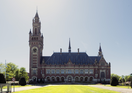 THE HAGUE, NETHERLANDS - MAY 5, 2016: The Peace Palace in The Hague, Netherlands, which is the seat of the International Court of Justice.