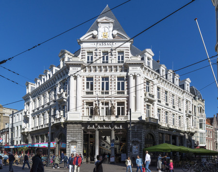 THE HAGUE, NETHERLANDS - MAY 5, 2016: The Passage is the only remaining example in the Netherlands of this type of covered shopping street, popular in major European and American cities during the 19th century. Editorial