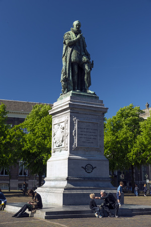 THE HAGUE, NETHERLANDS - MAY 5, 2016: Statue of Willem Den Eerste in the main square of The Hague