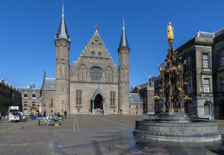 the hague: THE HAGUE, NETHERLANDS - MAY 5, 2016:The Ridderzaal inside the Binnenhof, the political centre of the Netherlands