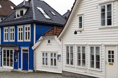 marken: BERGEN, NORWAY - 1 JUNE , 2017: Traditional wooden houses in Marken