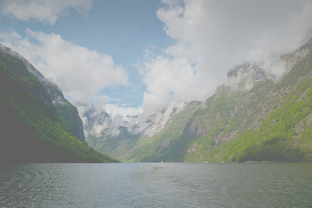 sognefjord: Sailing through Sognefjord, Norway