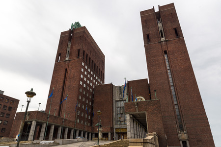 the Oslo City Hall. The construction started in 1931, but was paused by the outbreak of World War II, before the official inauguration in 1950