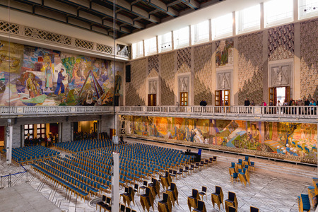 OSLO, NORWAY - JUNE 7, 2017: Hall in the Oslo City Hall. The construction started in 1931, but was paused by the outbreak of World War II, before the official inauguration in 1950