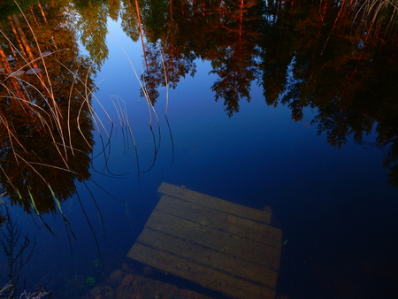 footbridges: reflection of landscape in still blue water Stock Photo