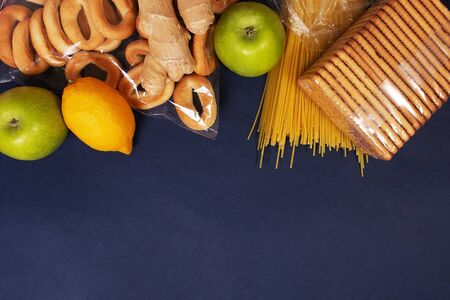 the food on a blue background, top view Stok Fotoğraf
